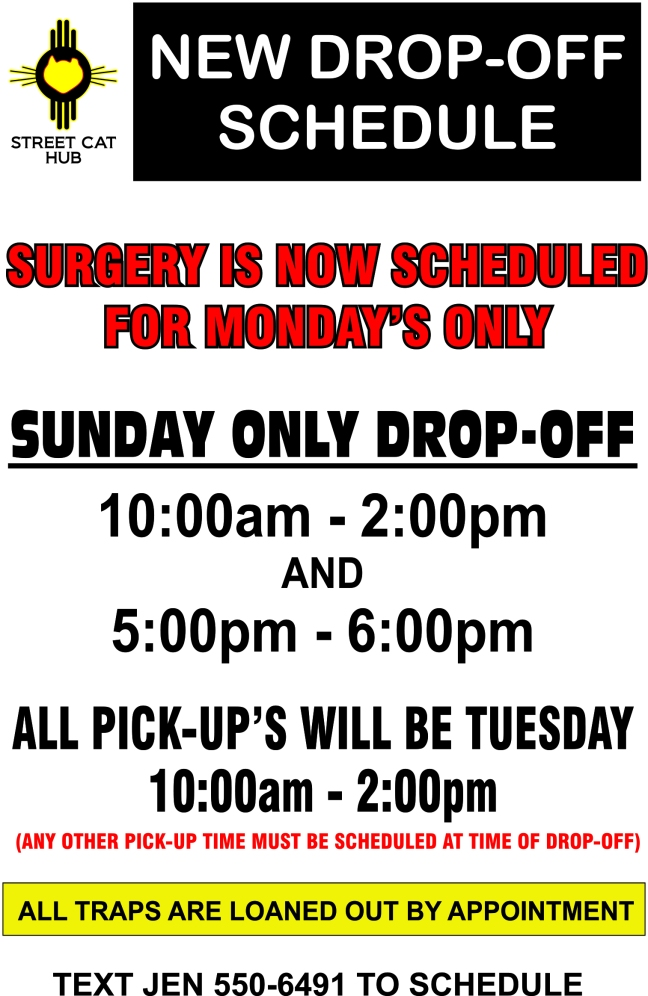 NEW DROP OFF SCHEDULE